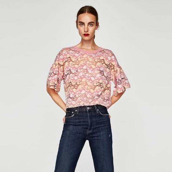 bc65e42452d35f Zara Tops   Contrasting Lace Top   Poshmark